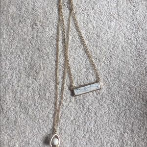 White and pale blue marble necklace